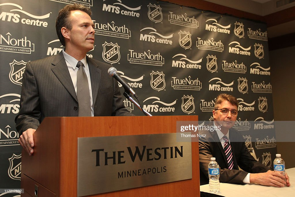 Kevin Cheveldayoff, Executive Vice Preident and General Manager of True North Sports and Entertainment, names Claude Noel as head coach for Winnipeg's new NHL Team at the Westin Minneapolis on June 24, 2011 in Minneapolis, Minnesota.
