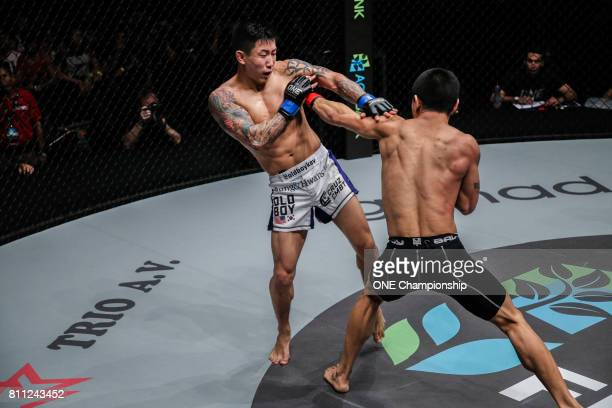 Kevin Chung defeats Zhong Qing Ya via TKO during ONE Championship Light Of A Nation at the Thuwunna Indoor Stadium on June 30 2017 in Yangon Myanmar