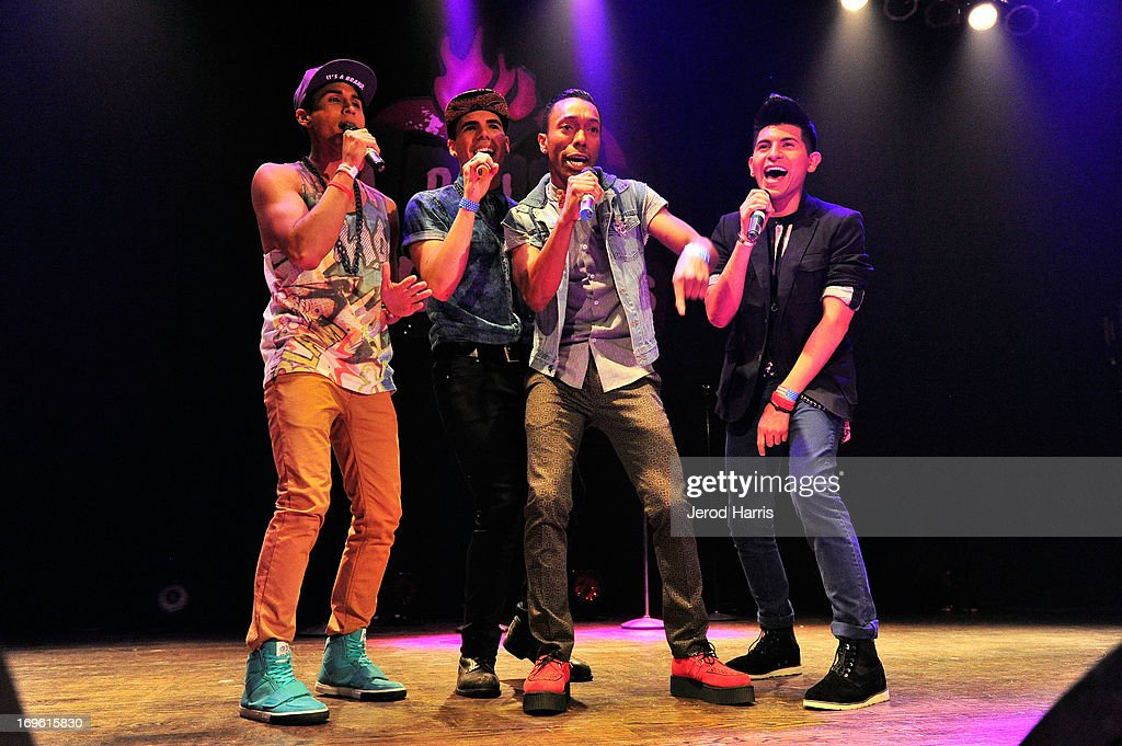 Kevin Clausen; Matt Iya, Rochone Anderson and Eric Alvez of Radio For The People perform at the American Icon Music Tour at House Of Blues on May 28, 2013 in Anaheim, California.