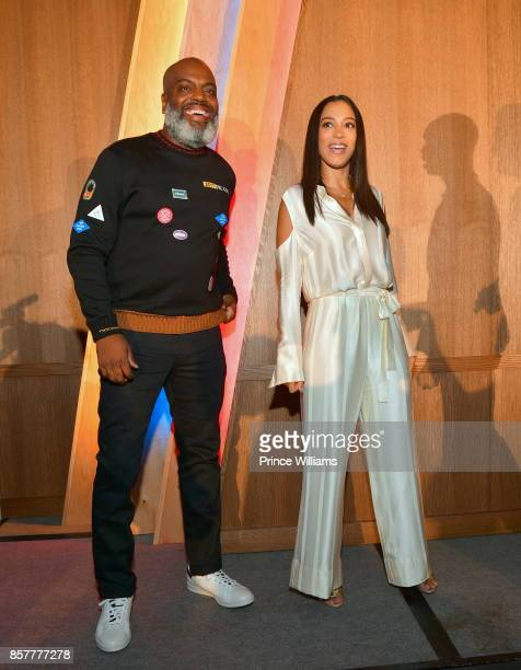 Kevin 'Coach K' and Angela Rye attend A3C Welcome To Atlanta Reception at the Loudermilk Conference Center on October 4 2017 in Atlanta Georgia