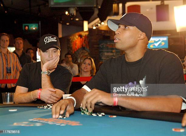 Kevin Connolly and Richard Jefferson during Degree For Men All In Poker Experience at ESPN Zone in New York City New York United States