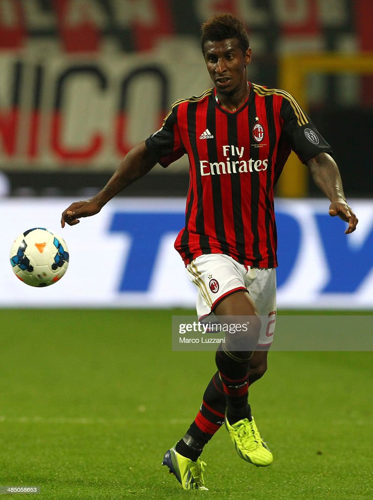 <a gi-track='captionPersonalityLinkClicked' href=/galleries/search?phrase=Kevin+Constant&family=editorial&specificpeople=3033289 ng-click='$event.stopPropagation()'>Kevin Constant</a> of AC Milan in action during the Serie A match between AC Milan and Calcio Catania at San Siro Stadium on April 13, 2014 in Milan, Italy.