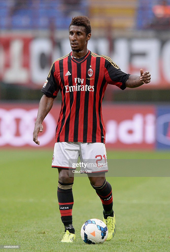<a gi-track='captionPersonalityLinkClicked' href=/galleries/search?phrase=Kevin+Constant&family=editorial&specificpeople=3033289 ng-click='$event.stopPropagation()'>Kevin Constant</a> of AC Milan in action during the Serie A match between AC Milan and AS Livorno Calcio at San Siro Stadium on April 19, 2014 in Milan, Italy.