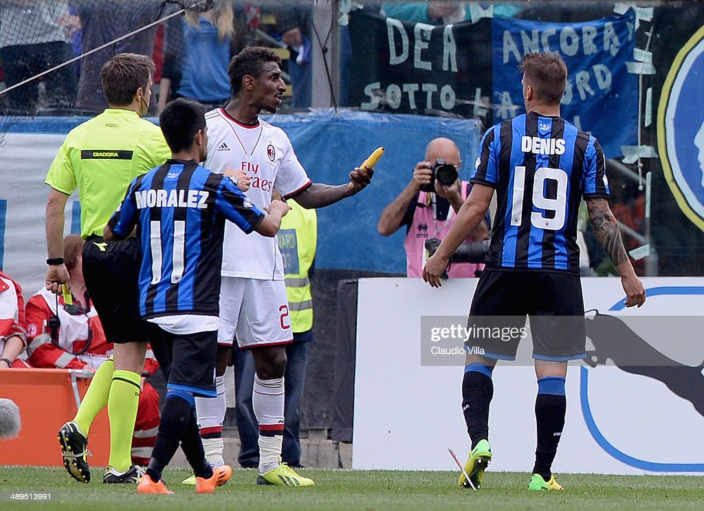 <a gi-track='captionPersonalityLinkClicked' href=/galleries/search?phrase=Kevin+Constant&family=editorial&specificpeople=3033289 ng-click='$event.stopPropagation()'>Kevin Constant</a> of AC Milan with a banana thrown by fans during the Serie A match between Atalanta BC and AC Milan at Stadio Atleti Azzurri d'Italia on May 11, 2014 in Bergamo, Italy.