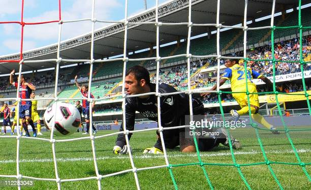 Kevin Constant of Chievo celebrates after scoring the opening goal past goalkeeper Emiliano Viviano of Bologna shows his dejection during the Serie A...