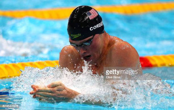 Kevin Cordes of the United States competes during the Men's 200m Breaststroke semi final on day fourteen of the Budapest 2017 FINA World...