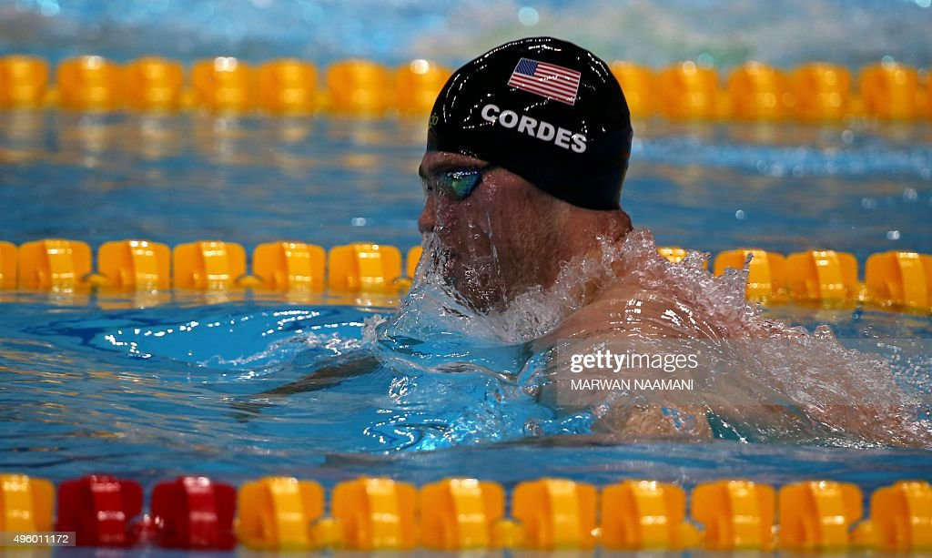 <a gi-track='captionPersonalityLinkClicked' href=/galleries/search?phrase=Kevin+Cordes&family=editorial&specificpeople=10030815 ng-click='$event.stopPropagation()'>Kevin Cordes</a> of the United States competes in the Men's 200m Breaststroke final during the FINA World Swimming Cup 2015 on November 6, 2015, at the Hamadan Bin Rashid Sports Complex in Dubai.
