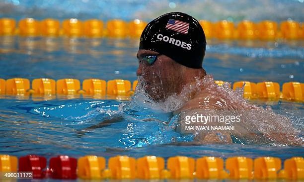 Kevin Cordes of the United States competes in the Men's 200m Breaststroke final during the FINA World Swimming Cup 2015 on November 6 at the Hamadan...