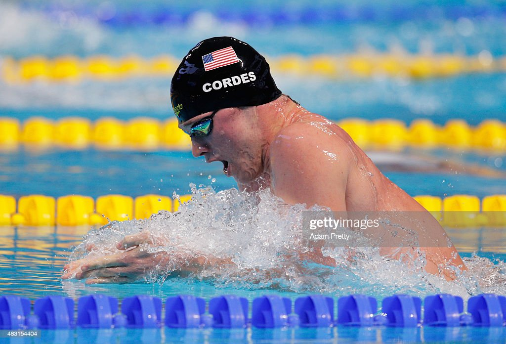 <a gi-track='captionPersonalityLinkClicked' href=/galleries/search?phrase=Kevin+Cordes&family=editorial&specificpeople=10030815 ng-click='$event.stopPropagation()'>Kevin Cordes</a> of the United States competes in the Men's 200m Breaststroke semifinal on day thirteen of the 16th FINA World Championships at the Kazan Arena on August 6, 2015 in Kazan, Russia.
