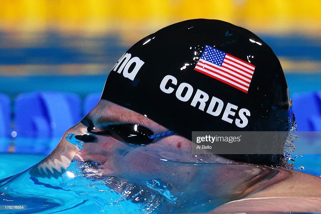 <a gi-track='captionPersonalityLinkClicked' href=/galleries/search?phrase=Kevin+Cordes&family=editorial&specificpeople=10030815 ng-click='$event.stopPropagation()'>Kevin Cordes</a> of the USA competes during the Swimming Men's Breaststroke 200m Semifinal 2 on day thirteen of the 15th FINA World Championships at Palau Sant Jordi on August 1, 2013 in Barcelona, Spain.