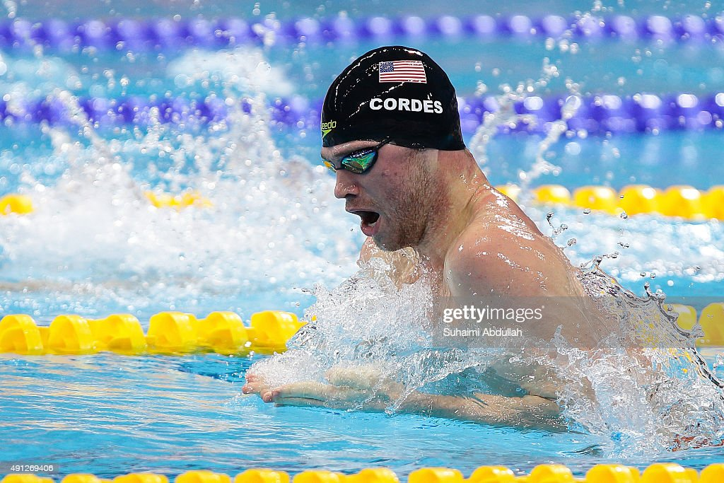<a gi-track='captionPersonalityLinkClicked' href=/galleries/search?phrase=Kevin+Cordes&family=editorial&specificpeople=10030815 ng-click='$event.stopPropagation()'>Kevin Cordes</a> of United States of America competes in the Men's 100m Breaststroke Final during the FINA World Cup at the OCBC Aquatic Centre on October 4, 2015 in Singapore.