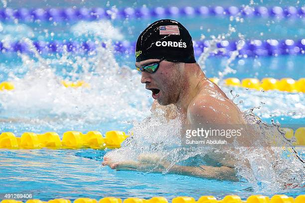 Kevin Cordes of United States of America competes in the Men's 100m Breaststroke Final during the FINA World Cup at the OCBC Aquatic Centre on...