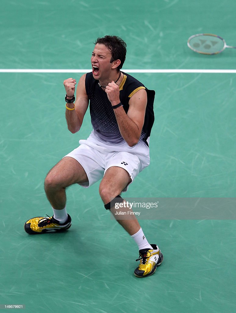 <a gi-track='captionPersonalityLinkClicked' href=/galleries/search?phrase=Kevin+Cordon&family=editorial&specificpeople=4404056 ng-click='$event.stopPropagation()'>Kevin Cordon</a> of Guatemala celebrates winning during his Men's Singles Badminton match against Rajiv Ouseph of Great Britain on Day 4 of the London 2012 Olympic Games at Wembley Arena on July 31, 2012 in London, England.