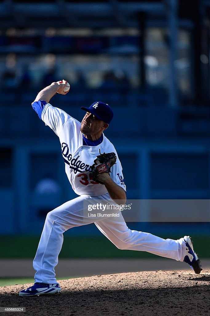 Kevin Correia of the Los Angeles Dodgers pitches against the Washington Nationals at Dodger Stadium on September 3 2014 in Los Angeles California The...