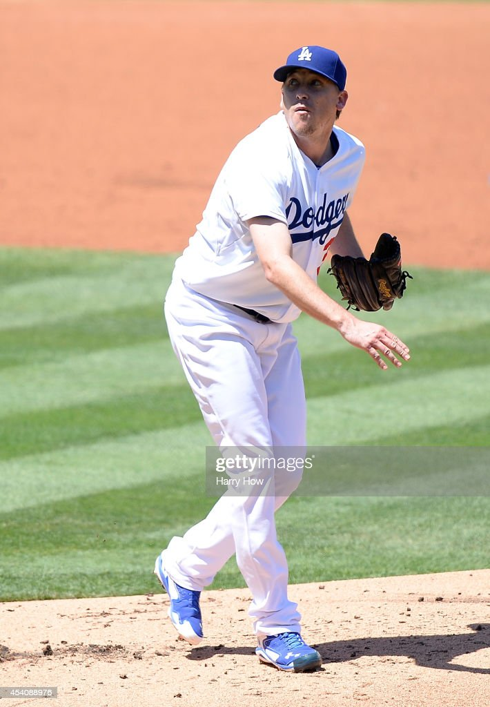 Kevin Correia of the Los Angeles Dodgers pitches against the New York Mets during the second inning at Dodger Stadium on August 24 2014 in Los...