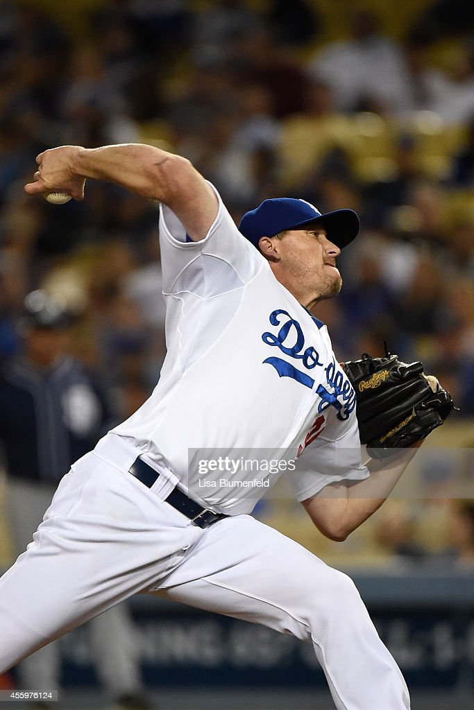 Kevin Correia of the Los Angeles Dodgers pitches against the San Diego Padres at Dodger Stadium on September 9 2014 in Los Angeles California