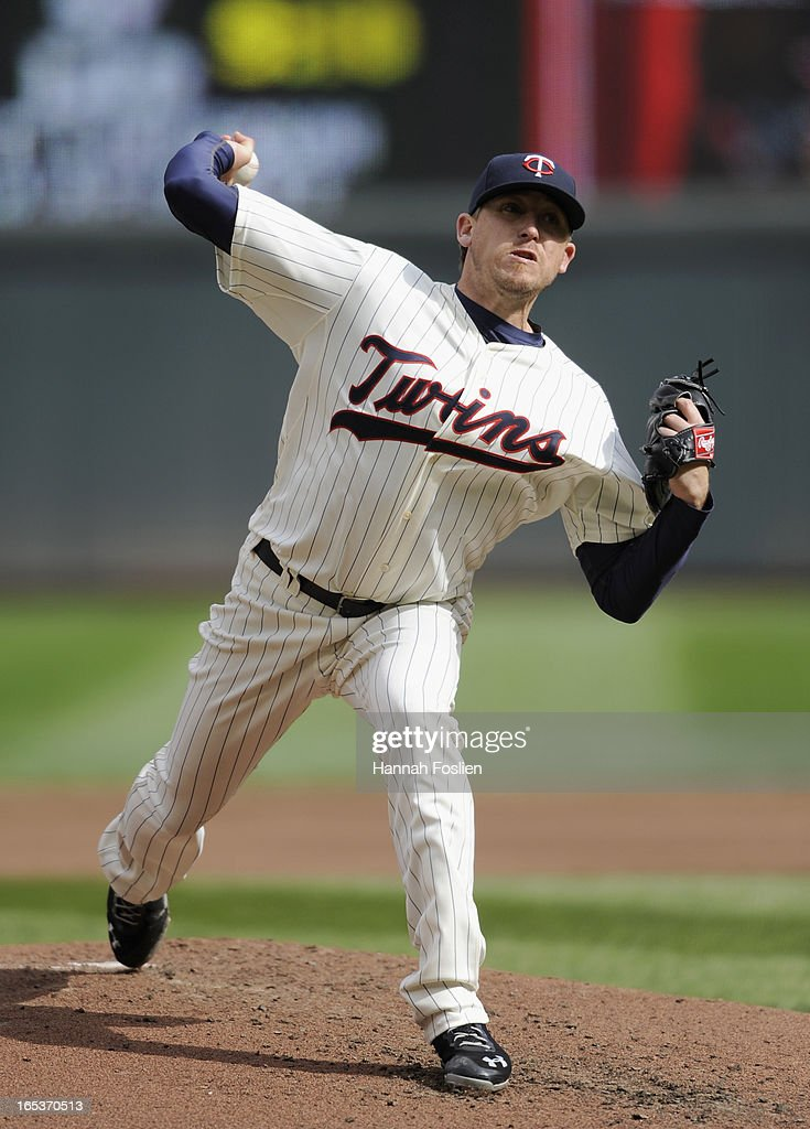 <a gi-track='captionPersonalityLinkClicked' href=/galleries/search?phrase=Kevin+Correia&family=editorial&specificpeople=534607 ng-click='$event.stopPropagation()'>Kevin Correia</a> #30 of the Minnesota Twins delivers a pitch against the Detroit Tigers during the second inning of the game on April 3, 2013 at Target Field in Minneapolis, Minnesota.