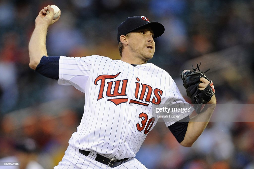 Kevin Correia of the Minnesota Twins delivers a pitch against the Tampa Bay Rays during the first inning of the game on September 13 2013 at Target...