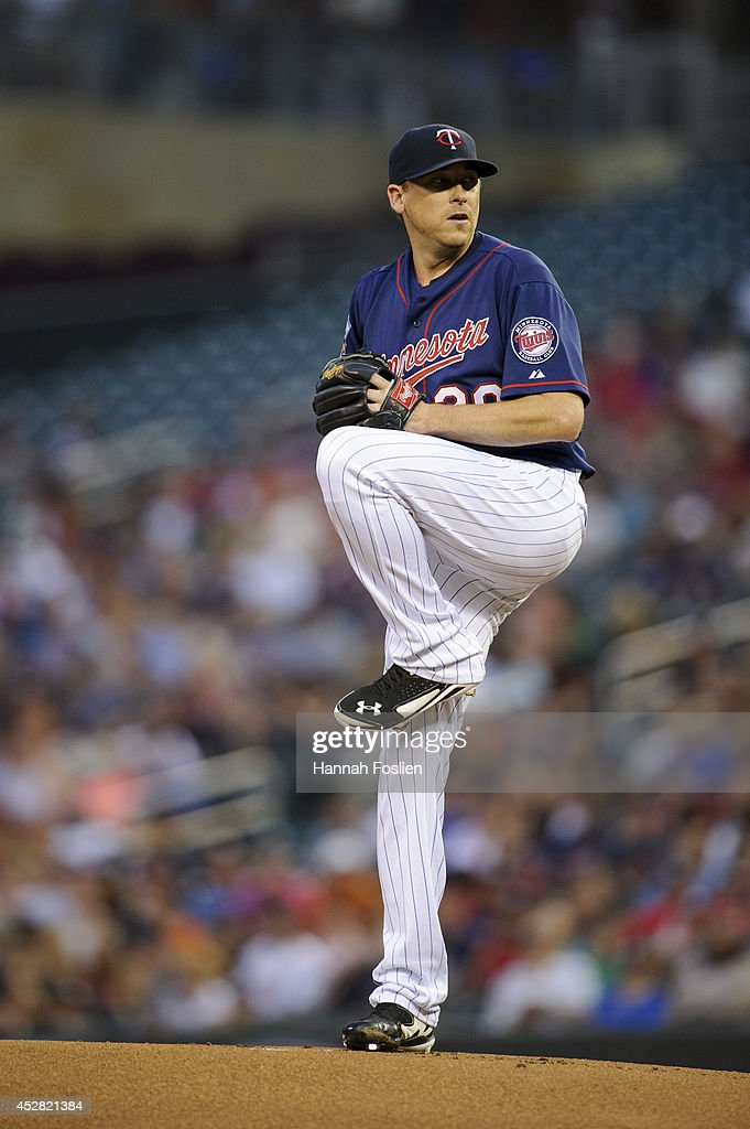 Kevin Correia of the Minnesota Twins delivers a pitch against the Chicago White Sox during the game on July 25 2014 at Target Field in Minneapolis...