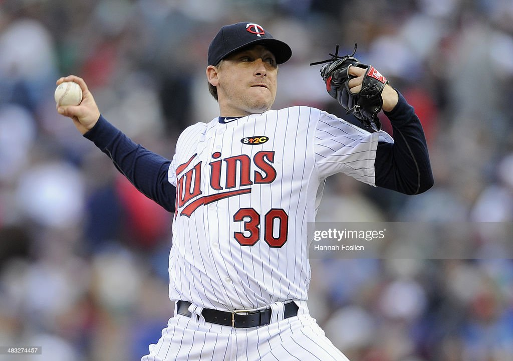 <a gi-track='captionPersonalityLinkClicked' href=/galleries/search?phrase=Kevin+Correia&family=editorial&specificpeople=534607 ng-click='$event.stopPropagation()'>Kevin Correia</a> #30 of the Minnesota Twins delivers a pitch against the Oakland Athletics during the fourth inning of the home opening game on April 7, 2014 at Target Field in Minneapolis, Minnesota. The Athletics defeated the Twins 8-3.