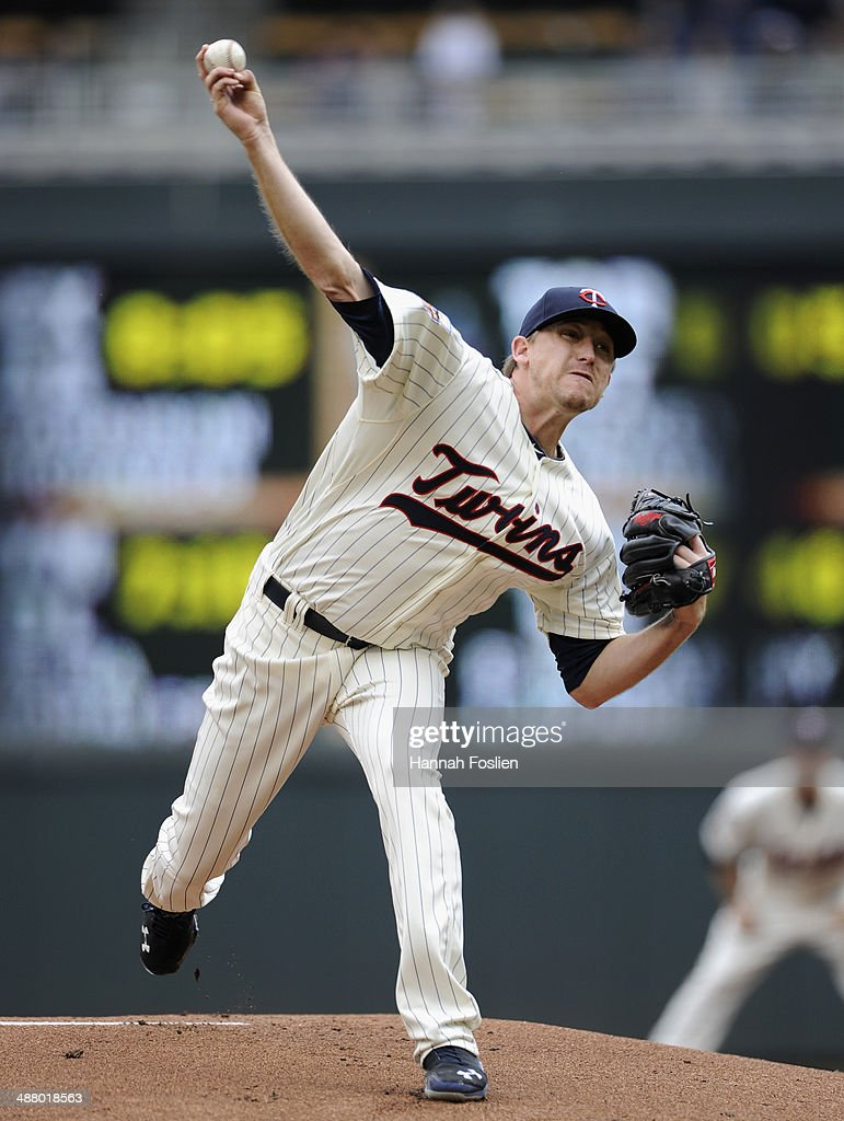 Kevin Correia of the Minnesota Twins delivers a pitch against the Baltimore Orioles during the first inning of the game on May 3 2014 at Target Field...