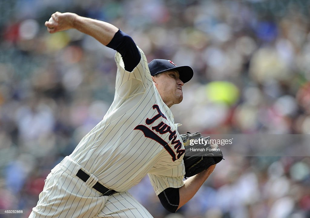 Kevin Correia of the Minnesota Twins delivers a pitch against the San Diego Padres during the first inning of the game on August 6 2014 at Target...