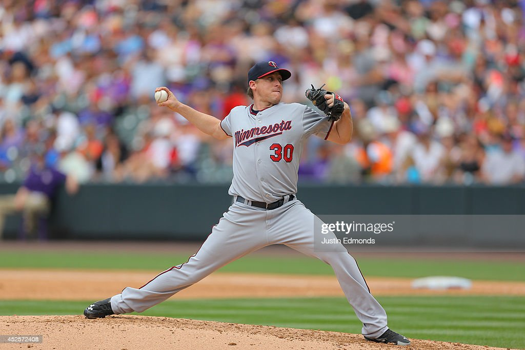 Kevin Correia of the Minnesota Twins pitches against the Colorado Rockies at Coors Field on July 12 2014 in Denver Colorado