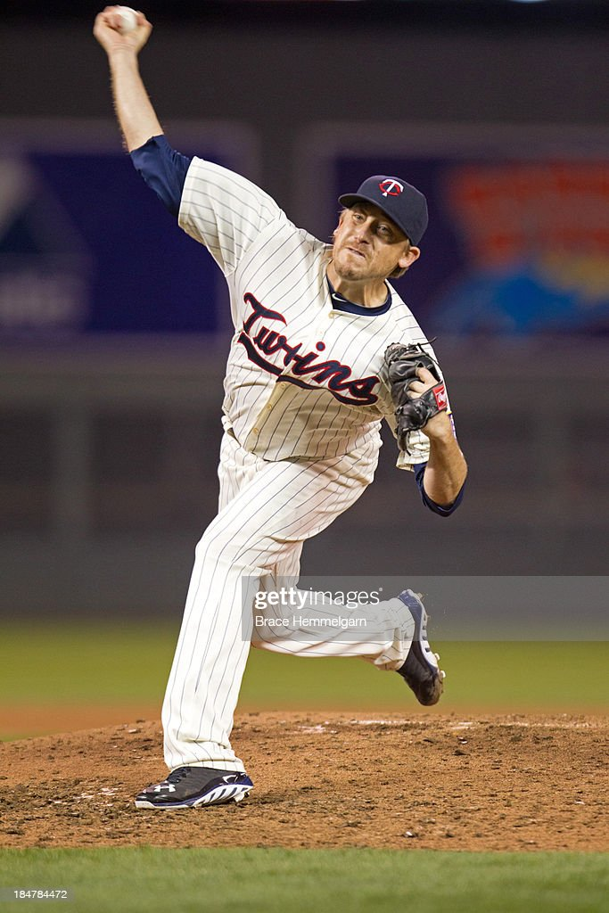 Kevin Correia of the Minnesota Twins pitches against the Detroit Tigers on September 25 2013 at Target Field in Minneapolis Minnesota The Tigers...
