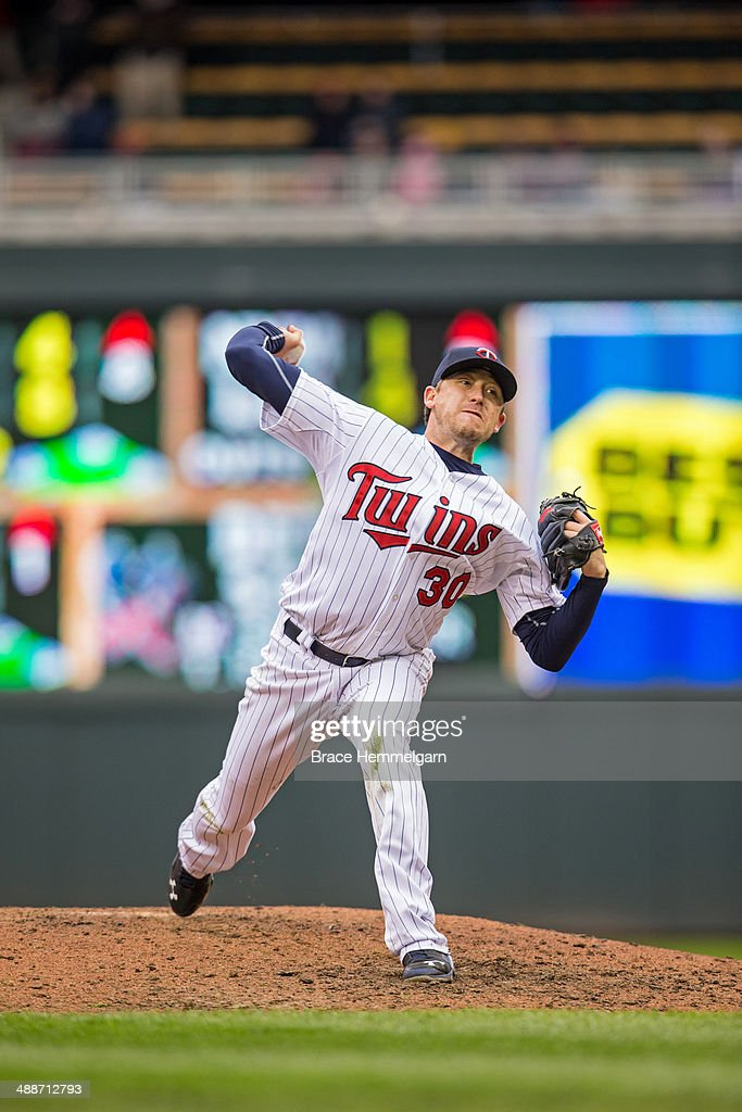 Kevin Correia of the Minnesota Twins pitches against the Kansas City Royals on April 13 2014 at Target Field in Minneapolis Minnesota The Twins...