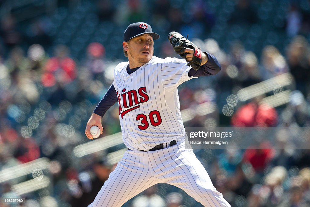 <a gi-track='captionPersonalityLinkClicked' href=/galleries/search?phrase=Kevin+Correia&family=editorial&specificpeople=534607 ng-click='$event.stopPropagation()'>Kevin Correia</a> #30 of the Minnesota Twins pitches against the Miami Marlins on April 23, 2013 at Target Field in Minneapolis, Minnesota. The Twins defeated the Marlins 4-3.