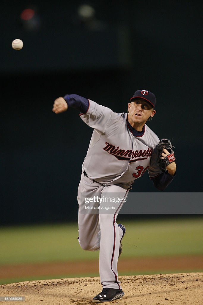 Kevin Correia of the Minnesota Twins pitches during the game against the Oakland Athletics at Oco Coliseum on September 19 2013 in Oakland California...