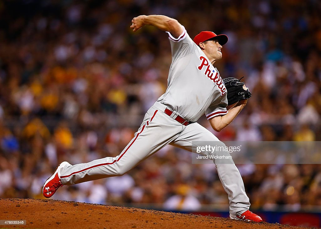 Kevin Correia of the Philadelphia Phillies in action against the Pittsburgh Pirates during the game at PNC Park on June 12 2015 in Pittsburgh...