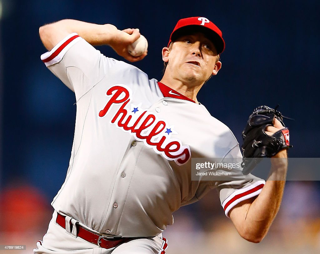 Kevin Correia of the Philadelphia Phillies pitches in the first inning against the Pittsburgh Pirates during the game at PNC Park on June 12 2015 in...
