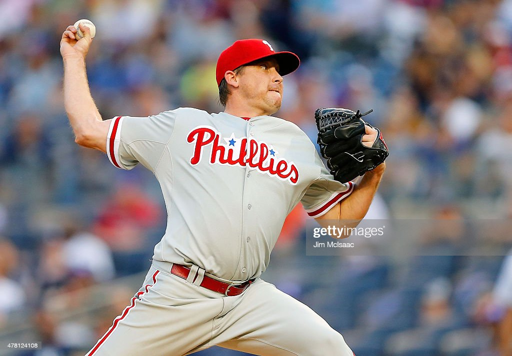 Kevin Correia of the Philadelphia Phillies pitches in the first inning against the New York Yankees at Yankee Stadium on June 22 2015 in the Bronx...