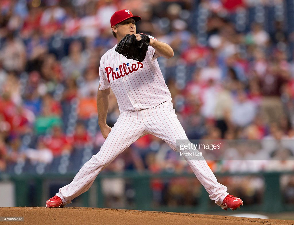 Kevin Correia of the Philadelphia Phillies throws a pitch in the game against the Baltimore Orioles on June 17 2015 at the Citizens Bank Park in...