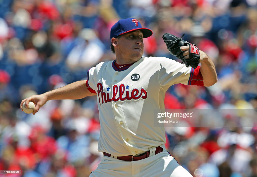Kevin Correia of the Philadelphia Phillies throws a pitch in the second inning during game one of a doubleheader against the Washington Nationals at...