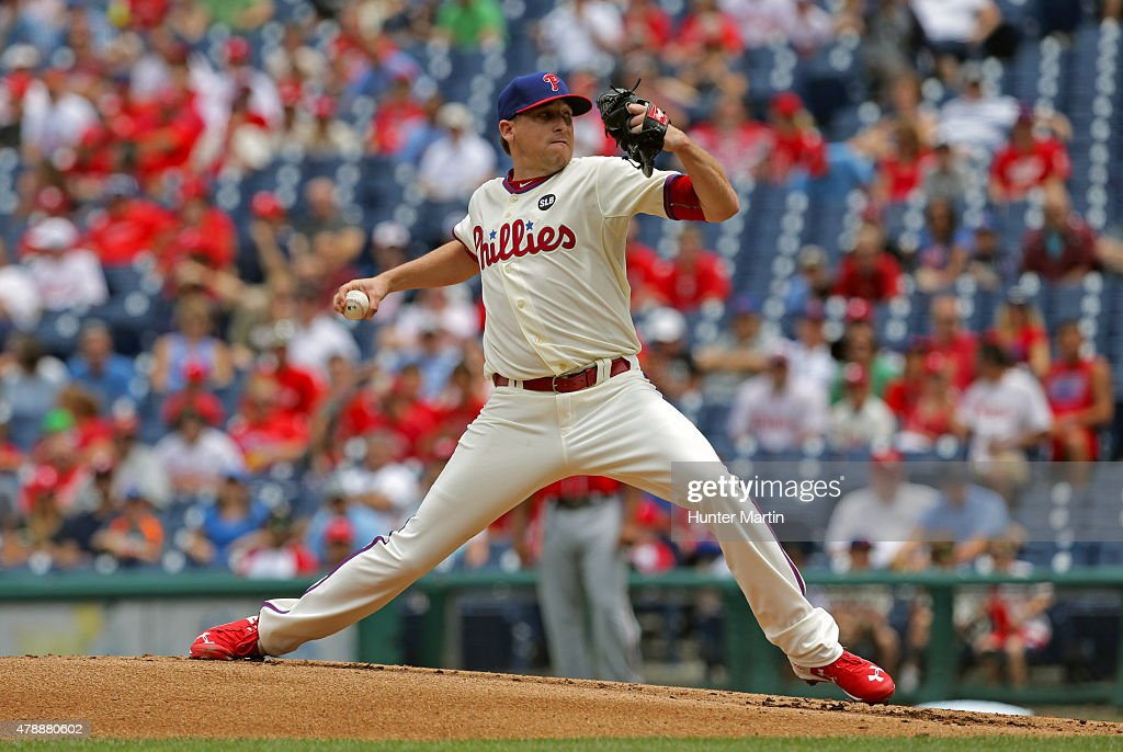 Kevin Correia of the Philadelphia Phillies throws a pitch in the first inning during game one of a doubleheader against the Washington Nationals at...