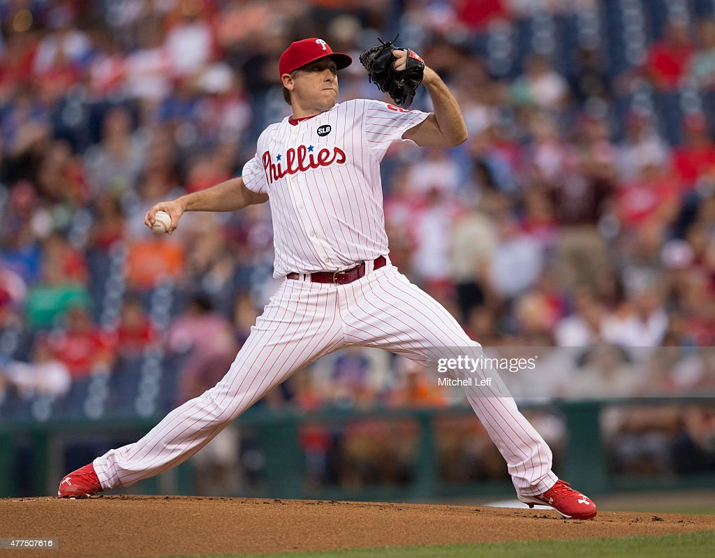 Kevin Correia of the Philadelphia Phillies throws a pitch in the top of the first inning against the Baltimore Orioles on June 17 2015 at the...
