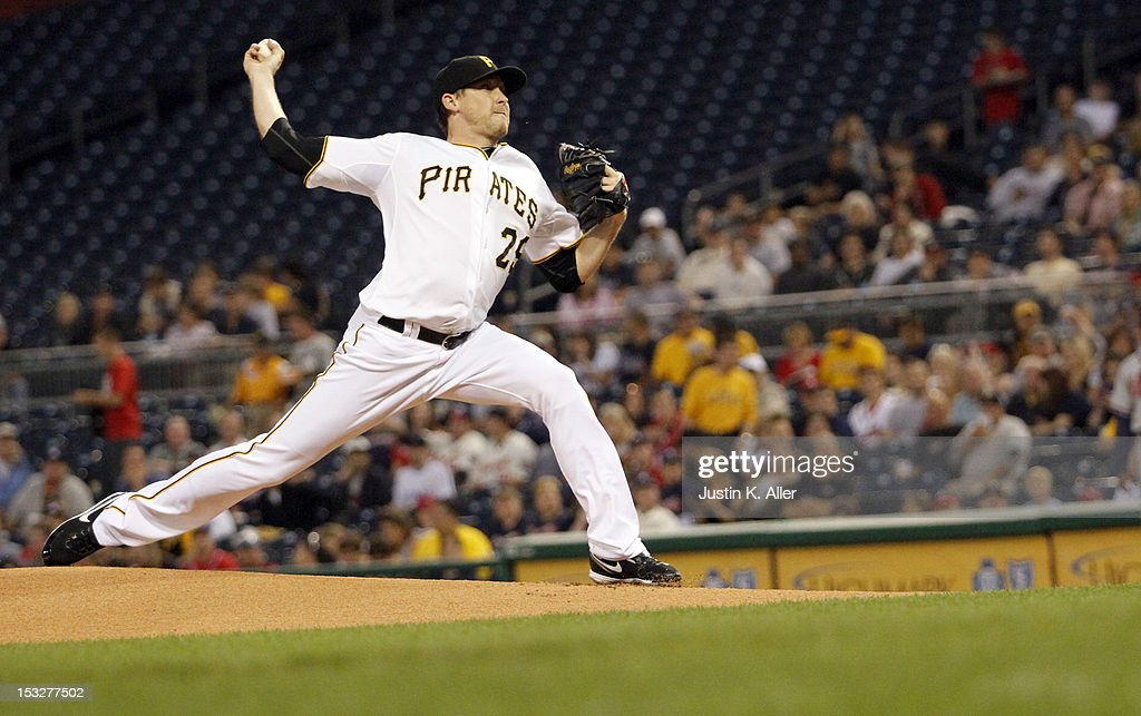 <a gi-track='captionPersonalityLinkClicked' href=/galleries/search?phrase=Kevin+Correia&family=editorial&specificpeople=534607 ng-click='$event.stopPropagation()'>Kevin Correia</a> #29 of the Pittsburgh Pirates pitches against the Atlanta Braves during the game on October 2, 2012 at PNC Park in Pittsburgh, Pennsylvania.