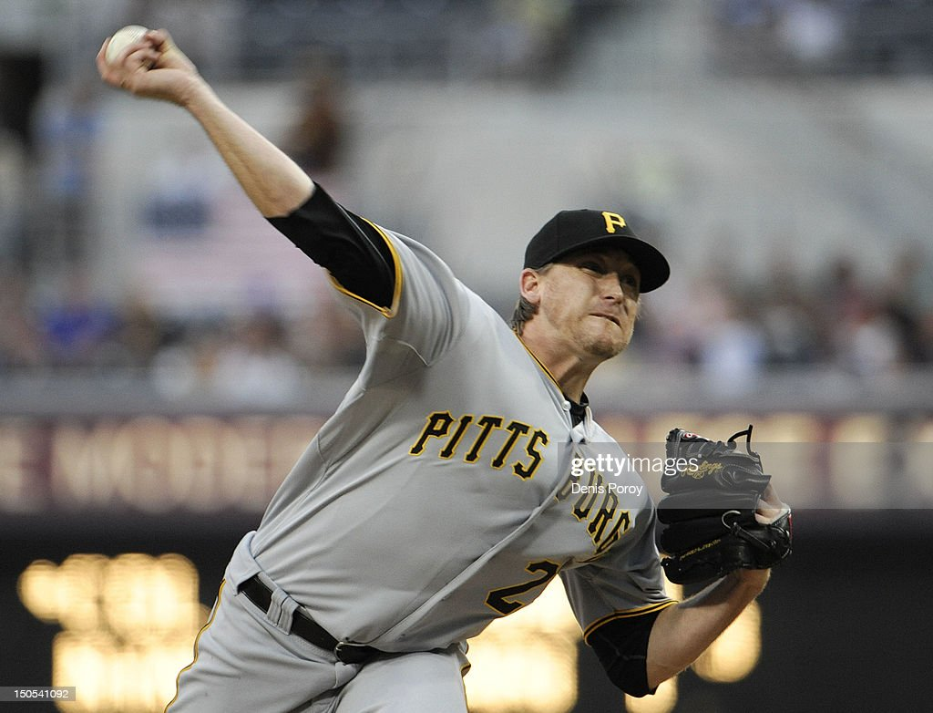 <a gi-track='captionPersonalityLinkClicked' href=/galleries/search?phrase=Kevin+Correia&family=editorial&specificpeople=534607 ng-click='$event.stopPropagation()'>Kevin Correia</a> #29 of the Pittsburgh Pirates pitches during the first inning of a baseball game against the San Diego Padres at Petco Park on August 20, 2012 in San Diego, California.