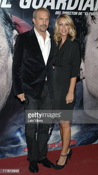 Kevin Costner and Christine Baumgartner during 'The Guardian' Madrid Premiere October 5 2006 at Palacio de la Musica Cinema in Madrid Spain