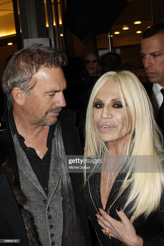 <a gi-track='captionPersonalityLinkClicked' href=/galleries/search?phrase=Kevin+Costner&family=editorial&specificpeople=201719 ng-click='$event.stopPropagation()'>Kevin Costner</a> and Donatella Versace attend the Versace Spring/Summer 2013 Haute-Couture show as part of Paris Fashion Week at Le Centorial on January 20, 2013 in Paris, France.
