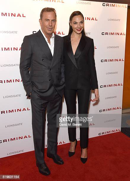 Kevin Costner and Gal Gadot attend the UK Premiere of 'Criminal' at The Curzon Mayfair on April 7 2016 in London England