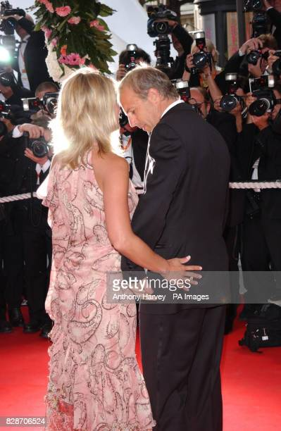 Kevin Costner and his girlfriend Christine Baumgarter arriving for the premiere of The Matrix Reloaded at the Palais des Festival in Cannes