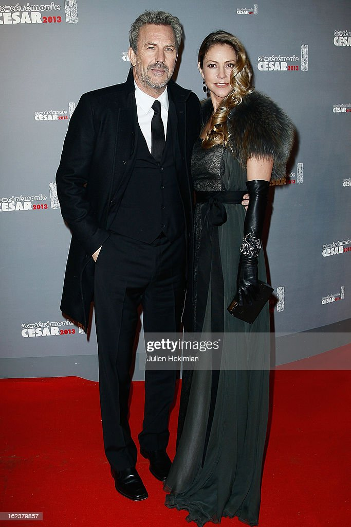 <a gi-track='captionPersonalityLinkClicked' href=/galleries/search?phrase=Kevin+Costner&family=editorial&specificpeople=201719 ng-click='$event.stopPropagation()'>Kevin Costner</a> and his wife attend the Cesar Film Awards 2013 at Theatre du Chatelet on February 22, 2013 in Paris, France.