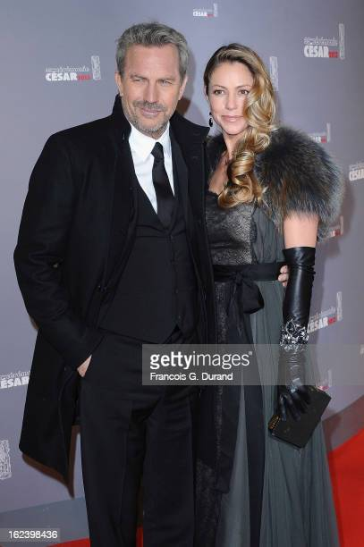 Kevin Costner and his wife Christine Baumgartner arrive at Cesar Film Awards 2013 at Theatre du Chatelet on February 22 2013 in Paris France