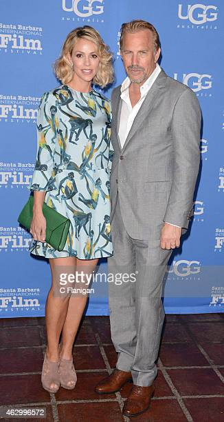 Kevin Costner and his wife Christine Baumgartner attend the World Premiere of 'McFarland USA' duirng Closing Night of the 30th Annual Santa Barbara...