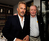 Kevin Costner and Jon Voight attend a special luncheon for Kevin Costner and Mike Binder hosted by Colleen Camp for the film BLACK OR WHITE at Fig...