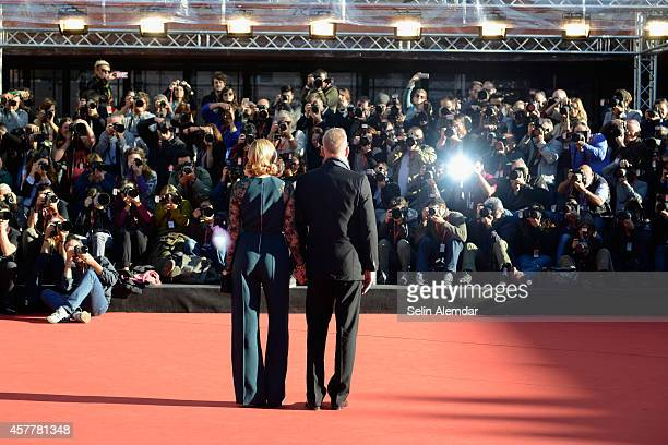 Kevin Costner and Lily Costner On the Red Carpet during the 9th Rome Film Festival at Auditorium Parco Della Musica on October 24 2014 in Rome Italy