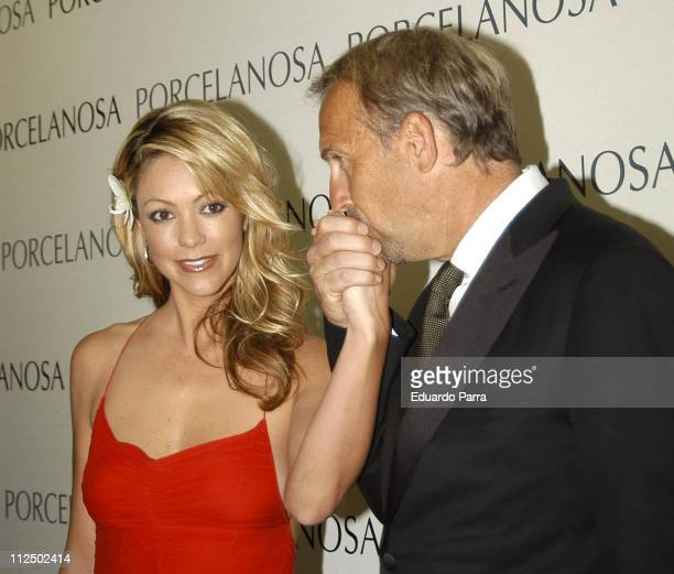 Kevin Costner and wife Christine Baumgartner during Kevin Costner and Christine Baumgartner at Porcelanosa Shop Inauguration May 5 2005 at...